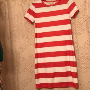 Michael Kors Coral and White Stripes Dress